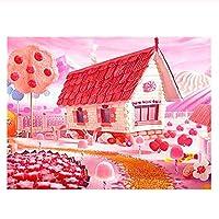 数字油絵 数字キット塗り絵 手塗り DIY絵 デジタル油絵 装飾 キャンディハウスの風景-40x50cm (diyの木製フレーム)