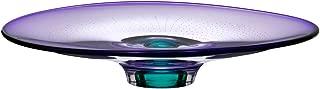 Kosta Boda Zoom by Göran Wärff 13 x 15-in Glass Dish, Lilac Purple & Green (Artist-Signed)