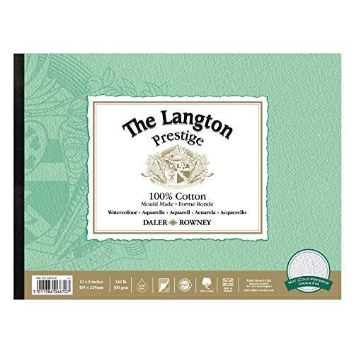 Daler-Rowney The Langton Prestige Cold Press ('Not') Watercolour Pad 12x9' (12 Sheets)