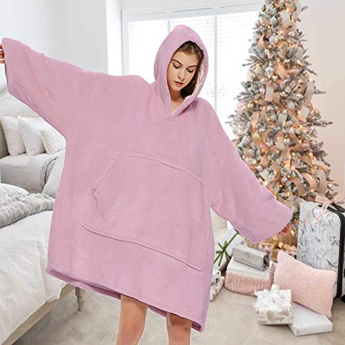 LASUNTIN Blanket Hoodie Oversized Wearable Sweatshirt Blankets of Soft Sherpa Plush for Adults Women Men  Cozy Warm Giant Hooded Snuggle Sweater with Front Pocket Light Mauve