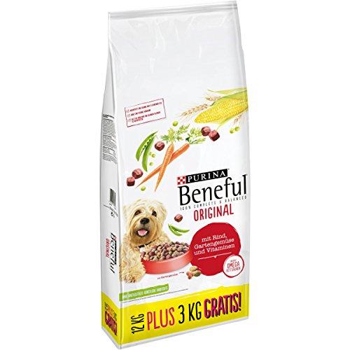 Purina Beneful Hundetrockenfutter Original (mit Rind und Gemüse) 12+3kg Overfill Sack