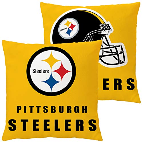 Football Team Throw Pillow Covers Pillow Cases Decorative Pillowcase Double Faced Protecter with Zipper Without Insert 1 pcs for Sofa, Car, Office, Bed, Chair (Pittsburgh Steelers)