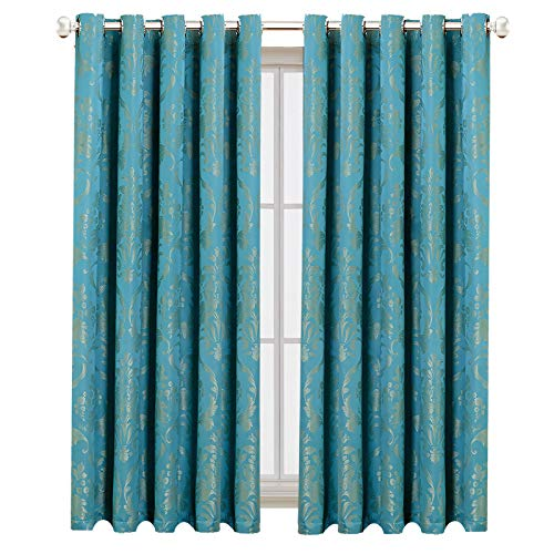 Teal Curtains For Bedroom - Eyelet Floral Curtains 90x90 For Living Room Window Treatments - Damask Pattern Luxury Heavy Jacquard Room Darkening Curtain Pair With Tie-Back - 90 x 90 Drop