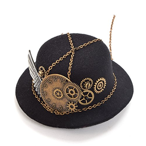 BLESSUME Mini Top Hat Party Hat Dancing Cocktail Feather Veil Hair Clip (Black 12)