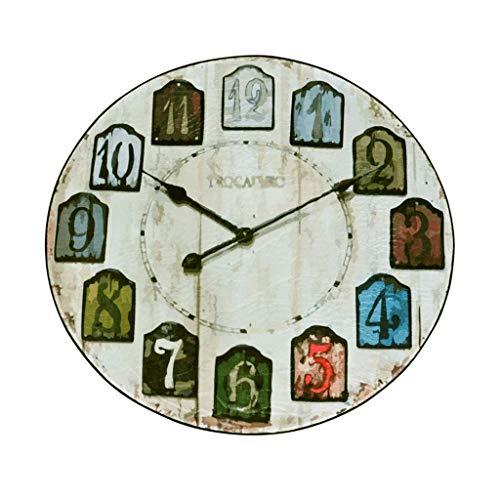 Décoration d'intérieur Europe et Les États Unis Creative Rétro Horloge Murale Ronde Table Tapis Chambre Salon Panier de Recyclage Bureau Bureau Ordinateur Pad Simple Conception Diamètre 80 cm Tapis de