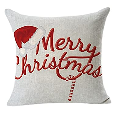 Gotd Jingle Bells Merry Christmas Pillow Case 18 x 18 Cushion Cover Home Decor Design Throw Pillow Cover Throw Pillow Case (Gift A)