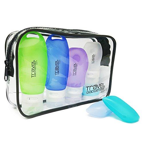 Bottiglie di Accessi di Viaggio (4) + CASO DI TOSCANA (2) + PORTAFOGLIO TSA Approvato (Verde/Blu/Viola/Bianco/Azzurro, 5-Pack)