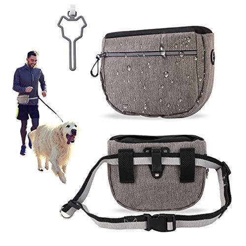Dihope Bolsa de comida para entrenamiento de perros, bolsa de entrenamiento para golosinas con gran capacidad gratis, bolsa de comida para perros, bolsa de cintura ajustable (juego gris)
