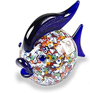 YourMurano Paina - Escultura de cristal de Murano, forma de pez, pez azul, escultura murrina, vidrio soplado, fabricado en Italia, 100% marca de origen garantizada, Paina