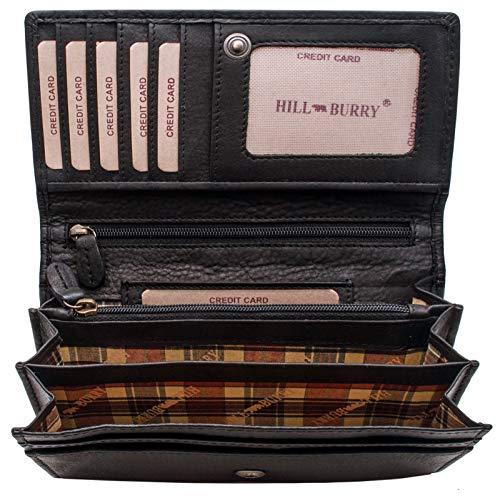 Hill Burry hochwertige Geldbörse | aus weichem Vintage Leder - Langes Portemonnaie - Kreditkartenetui - RFID (Schwarz)