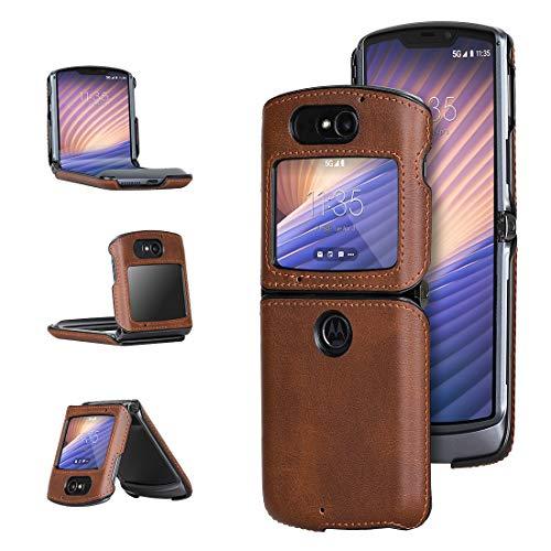 Foluu Moto Razr 5G Hülle, für Motorola Razr 5G 2020 Ledertasche PU Leder + Harte PC Schale Ultra Dünn Slim Durable Schutzhülle Handyhülle für Motorola Moto Razr 5G 2020 Version (Braun)