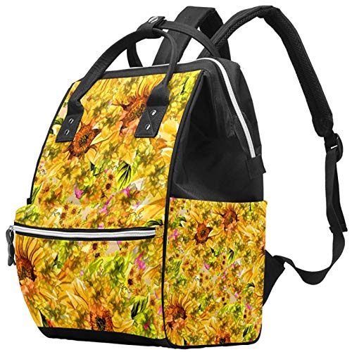 Mummy Changing Bag Backpack Hand Paint Yellow Sunflower S Pattern Multi-Function Waterproof Diaper Travel Backpack for Baby Care