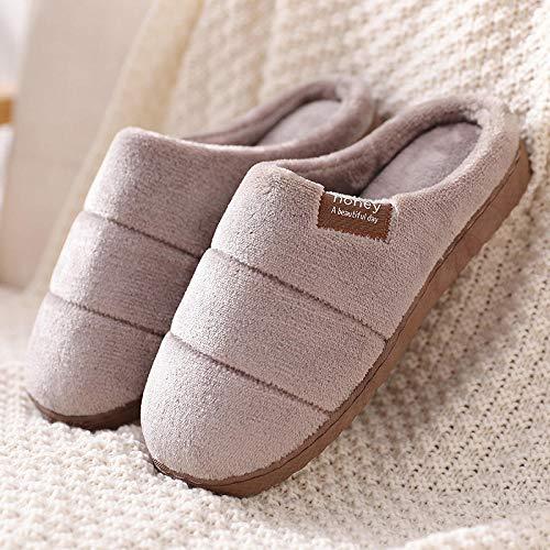 XZDNYDHGX Zapatillas de Estar por Casa para Niñas Niños Invierno,Zapatillas de Invierno para Hombre, Zapatos de Interior de Felpa para Mantener para hombr eantideslizante marrón, EU 41-42