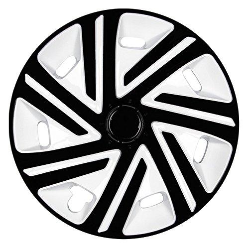 Autoteppich Stylers (Größe wählbar) 15 Zoll Radkappen/Radzierblenden CYRKON Weiss/Schwarz passend für Fast alle Fahrzeugtypen – universal