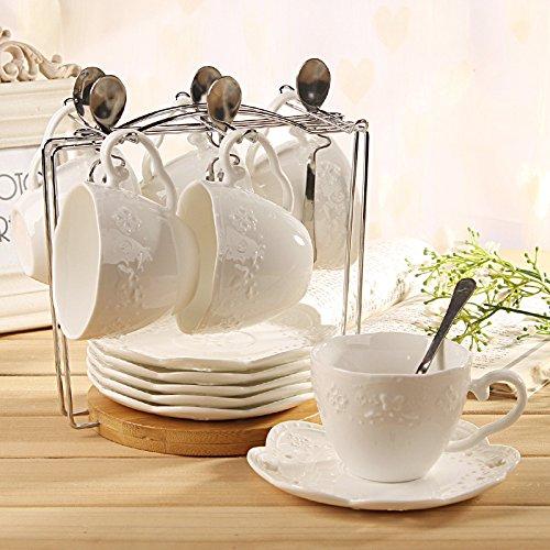 BBSLT Regali di NataleCeramica in rilievo una tazzina di caffè, set di pizzo bianco vintage il tè del pomeriggio Cup Saucer