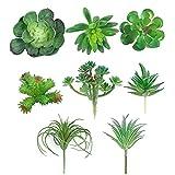 YeenGreen Succulente Piante Artificiali, 8 Pezzi Succulente Finte Decor Creativo Impianto Multifunzionale Pianta Finta Mini Piante Grasse Artificiali Set per Giardino Scrivania Cucina Esterno