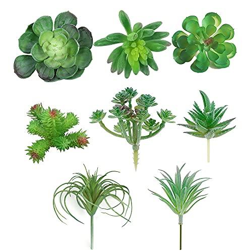 YeenGreen Plantas suculentas Artificiales, 8 Piezas Suculentas Falsas Plantas Artificiales Mini Plantas Suculentas Artificiales para la Decoración del Jardín de Hadas Interior del Hogar