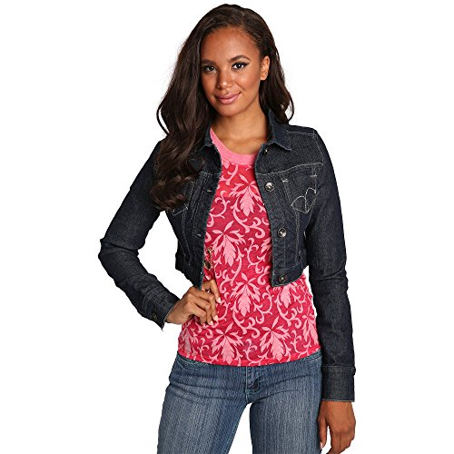Sweet Vibes Womens Cropped Jackets Stretch Denim Belt Loop Waistband Embroidery Size S
