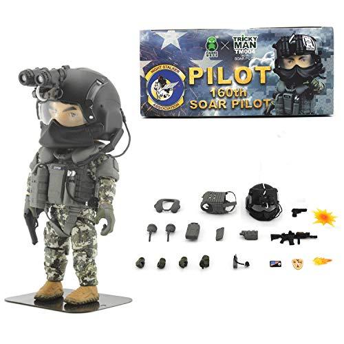 Seal Team 6 Division | Tricky Man Night Stalkers Pilot Special Edition | Militär Figur Paintball Softair Military | Spezialeinheiten Army Spielfigur | 12 cm groß Special Forces Seal Team 6