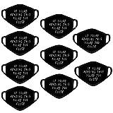 Supertong 9 Stück Baumwolle Mundschutz Mode Brief Drucken Waschbar Wiederverwendbar Gesichtsschutz Outdoor Radfahren Winddicht Staubdicht Face Shield für Erwachsenee (Schwarz)