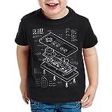 style3 NES Controlador Fotocalco Azul Camiseta para Niños T-Shirt 8-bit Mario Donkey Bros Kong, Color:Nero;Talla:140