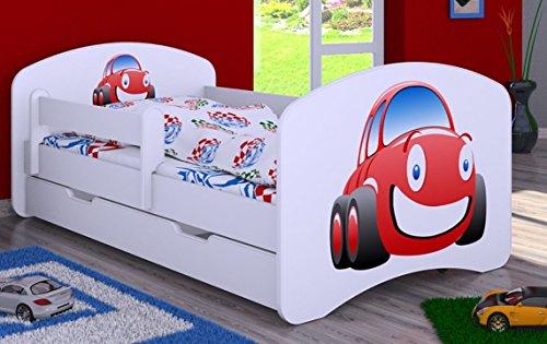 HB Kinderbett mit Matratze und Bettkasten - NEU , Verschiedene Motive Weiss (140x70cm mit Schublade, WEISS-WAGEN)
