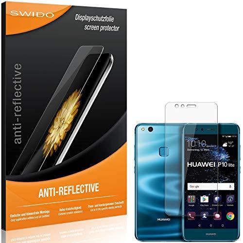 SWIDO Schutzfolie für Huawei P10 lite Dual SIM [2 Stück] Anti-Reflex MATT Entspiegelnd, Hoher Festigkeitgrad, Schutz vor Kratzer/Folie, Bildschirmschutz, Bildschirmschutzfolie, Panzerglas-Folie