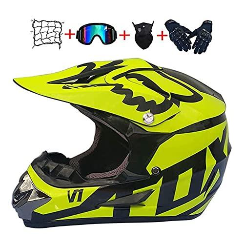 YEKZDD NiñOs Cara Completa Casco De Motocross, Juvenil Junior Casco Protector De Motocicleta Dirt Bike para Quad Bikes BMX Bicicleta MTB ATV Offroad DH Casco Equipo De ProteccióN con Fox Design