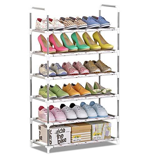 Jianghuayunchuanri Zapatero estantes para zapatos no tejidos, apilable de 6 capas, zapatero ajustable, para encontrar fácilmente tus propios zapatos (color: gris, tamaño: 60 x 30 x 108 cm)