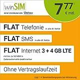 winSIM Móvil LTE All 3 GB + 4 GB – sin Tiempo de Contrato, (Flat Internet 7 GB LTE con máx. 50 Mbit/s con Datos desactivables automáticos, Llamadas Planas, SMS y Extranjero de la UE, 7,77 Euros/Mes)