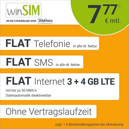 winSIM Móvil LTE All 3 GB + 4 GB – sin Tiempo de Contrato, (Flat Internet 7 GB LTE con máx. 50 Mbit s con Datos desactivables automáticos, Llamadas Planas, SMS y Extranjero de la UE, 7,77 Euros Mes)