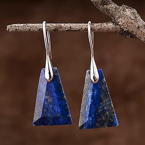 ACEACE Pendientes de caída de Piedras Naturales Azules Pendientes de Gancho Mujeres Joyería de Moda (Metal Color : Silver Color)