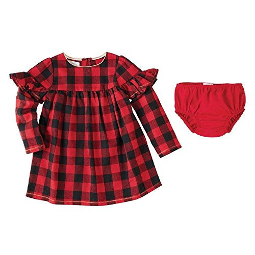 Mud Pie Baby Girl's Buffalo Check Long Sleeve Dress (Toddler) Red 2T (Toddler)