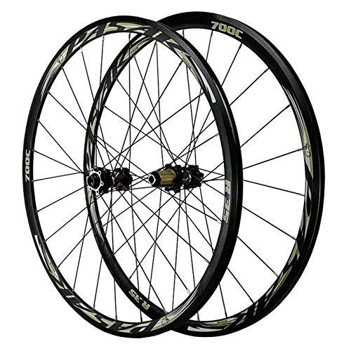 YXYH Outdoor 700C Disc Brake Road Bike Wheelset Thru Axle Mountain Bike Front + Rear Wheel Cyclocross Road V/C Brake 7/8/9/10/11/12 Speed Wheel (Color : Black)