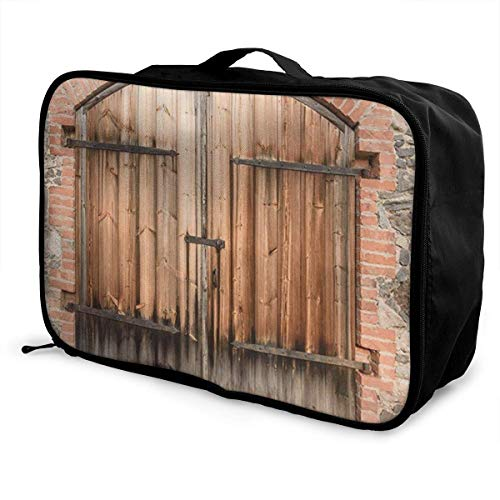 Bolsas de Maleta Wooden Door of A Stone House Young Men and Women School Luggage Bag Lightweight Large Capacity Portable Holiday Travel Bags Tote Duffel Carry-on in Trolley Holiday Suitcase Bags