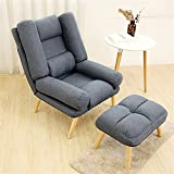 BSLY Upholstered Armchair - Japanese Folding Lounge Chair - Adjustable Backrest Lazy Couch TV Sofa Breastfeeding Chair - Bedroom/Living Room/Balcony/Meditation Chair