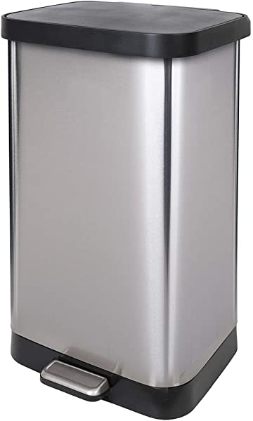 GLAD GLD 74507 Extra Capacity Stainless Steel Step Trash Can With Clorox Odor Protection Of The Lid Fits Kitchen Pro 20 Gallon Waste Bags
