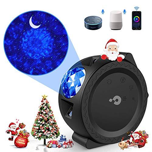 Sternenhimmel Projektor LED【WIFI Smart】Galaxy Projektor Lampe mit Timer/APP/Voice Kontrolle Bunt 3 in1 Starry Stern Mond Ozeanwellen Sternenhimmel Lampe für Kinder Party Weihnachten