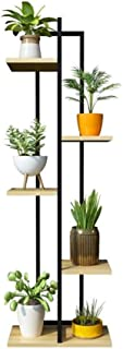 HTTSC Flower Stand 5 Layer Iron Flower Stand/Flower Stand Living Room Balcony Indoor/Outdoor Metal Black Vertical Stand Bo...