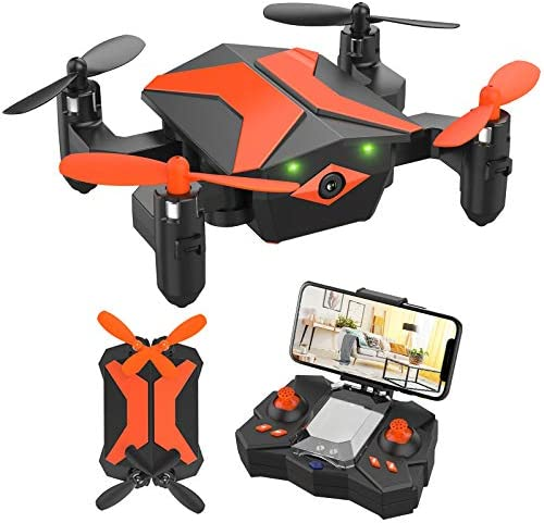 Mini Drone with Camera for Kids Beginners Foldable Pocket RC Quadcopter with App Gravity Voice product image