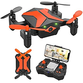 Mini Drone with Camera for KidsBeginners Foldable Pocket RC Quadcopterwith App Gravity Voice Control Trajectory Flight FPV Video Altitude Hold Headless Mode 360°Flip Toys Gifts for Boys Girls