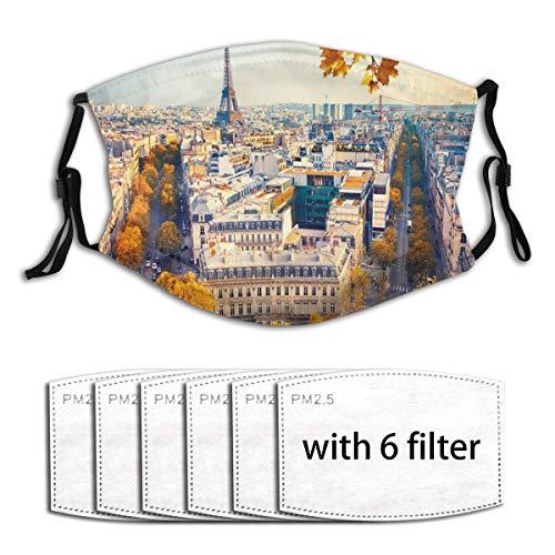 VORMOR Gesichtsbedeckung Luftaufnahme des Eiffelturms bei Sonnenuntergang Paris Frankreich Cityscape Historisches Wahrzeichen Bild Sturmhaube Anti-Staub-Mund Bandanas Halsmanschette mit 6 Filtern