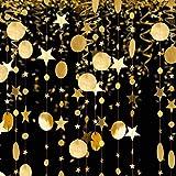 BED COTTON Kit Ghirlande, Gagliardetto di Carta a Catena, per Compleanno, Matrimonio, Festa, Interno all'aperto, Festa e Decorazione Natalizia, Cerchietti Luccicanti Punti e Stelle, Oro/2 pezzi/8M