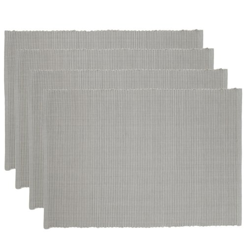 Now Designs Spectrum Basic Cotton Placemats, Set of Four, Cobblestone Grey