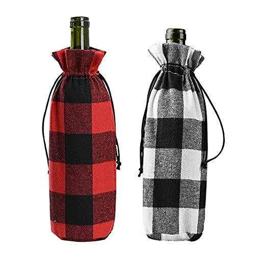 SINGFNH 4 fundas para botellas de vino de búfalo de Navidad, bolsas de botella de vino con cuerdas de cordón, cubierta de botella de vino a cuadros para Navidad, Acción de Gracias, decoración de boda