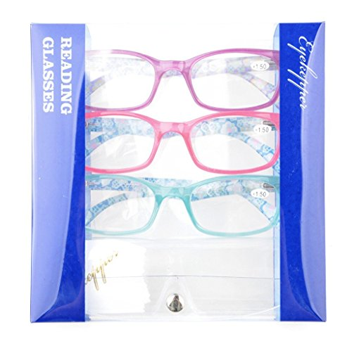 Eyekepper Womens Reading Glasses 3 Pack with Comfort Spring Arms Classic Stylish Round Look-Crystal Clear Vision