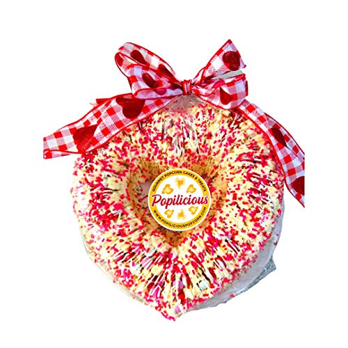 Popilicious Gourmet Popcorn Valentine's Day Cake, Heart Shaped, Perfect for Valentine's Day, Anniversary Gifts, Thinking of You Gifts, 32 ounces, Serves 8-10, Gluten Free Gift