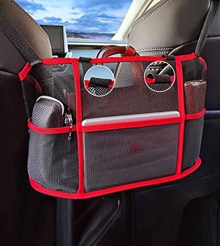 Car Net Pocket Handbag Holder with Elastic Protective Belts Large Capacity Driver Storage Netting Seat Back Net Bag Pouch Car Mesh Organizer for Purse Phone Documents Wallet(Upgrade Red)