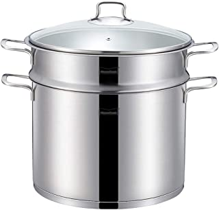 Vaporizador de Acero Inoxidable 304 / Olla de Sopa 1 Capa Hogar con vaporera 26cm Engrosado Adecuado para Estufa de Gas/Cocina de inducción Adecuado para 3-6 Personas