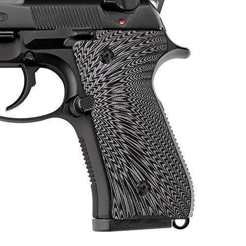 Cool Hand G10 Grips for Beretta 92/96 Full Size, Screws Included, 92 fs, m9, 92a1, 96a1, 92 INOX, Sunburst Texture,Grey/Black,B92-J6-5